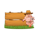 Barbeque grill - Smiling hog and wooden sign. Barbeque grill - Smiling hog in cowboy hat, with a skimmer and spoon, near the wooden sign vector illustration