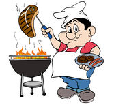 Barbeque Guy. Hand drawn cartoon chef working the grill Stock Image