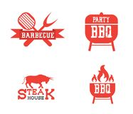 Barbeque icon set. On white background in flat style stock illustration