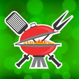 Barbeque Icon. On Summer Green Blurred Background vector illustration