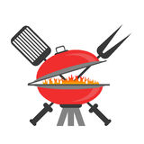 Barbeque Icon. On White Backround. Grill Symbol stock illustration