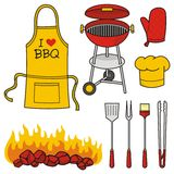 Barbeque icons. A set of barbeque icons isolated on white background stock illustration