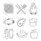 Barbeque icons set Royalty Free Stock Image