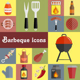 Barbeque icons set Stock Images