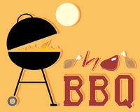 Barbeque. An illustration of an abstract barbeque advert with grill fire and cuts of meat under a yellow sun on an orange background with space for text stock illustration