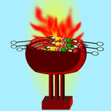 Barbecue. Illustration background with fire Royalty Free Stock Photography