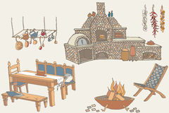 Barbeсue kitchen1 colored. Sketch of furniture and equipment for the kitchen in the yard Royalty Free Stock Images