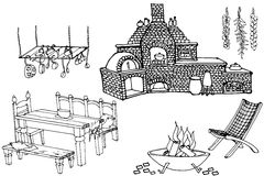 Barbeсue kitchen1. Sketch of furniture and equipment for the kitchen in the yard Stock Photos
