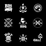 Barbeque labels set. White monochrome set of BBQ or Grill labels on black background. Vector barbeque illustration royalty free illustration