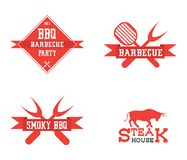 Barbeque logo on white background. With mirror effect stock illustration