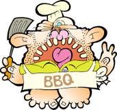 Barbeque man. Holding a skillet stock illustration
