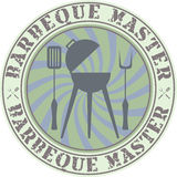 Barbeque master. Vector vintage style barbeque master badge stock illustration