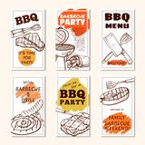 Barbeque meat party poster or flyer set. Bbq meal, gathering with meat, fish, food cooked out of doors. Vector line art illustration isolated on white royalty free illustration