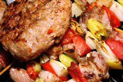 Barbeque - meat with vegetables on a stick Stock Photo