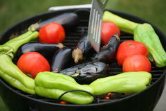 Barbeque. Nutritious , healthy vegetables on  the grill Stock Photos