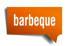 Barbeque orange 3d speech bubble. Barbeque orange 3d square isolated speech bubble royalty free illustration