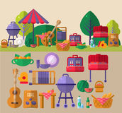 Barbeque Outdoors Object Set. Barbeque Outdoors Object Flat Cartoon Vector Objects Set Presented In Two Setups In Relation To Each Other Above And Below royalty free illustration