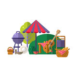 Barbeque In Park Items Collection. Picnic Outdoors Flat Vector Illustration. Weekend Picnic In Nature Bright Color Set Of Objects royalty free illustration