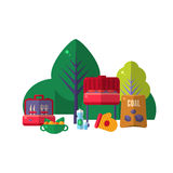 Barbeque In Park Items Set. Picnic Outdoors Flat Vector Illustration. Weekend Picnic In Nature Bright Color Set Of Objects royalty free illustration