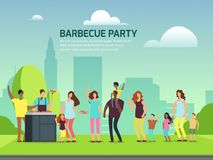 Barbeque party design. Cartoon character families in park vector illustration. Barbeque party banner design. Cartoon character international families in park stock illustration