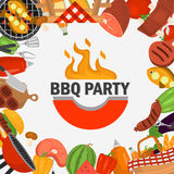 Barbeque party color background for web and mobile design. Barbeque party color background for web design stock illustration