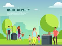 Barbeque party design. Cartoon character families in park. Barbeque party banner design. Cartoon character families in park vector illustration stock illustration