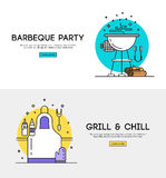 Barbeque party illustration. BBQ season opening party announcement flat poster with barbeque accessories event date and time abstract vector illustration stock illustration