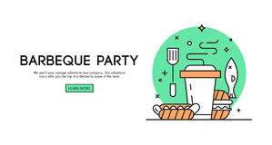 Barbeque party illustration. BBQ season opening party announcement flat poster with barbeque accessories event date and time abstract vector illustration royalty free illustration