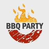 Barbeque party invitation logotype for web and mobile design. Barbeque party invitation logotype with text stock illustration