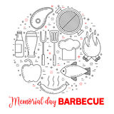 Barbeque party poster with grill, steak,. Beer and sausage Royalty Free Stock Images