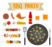 Barbeque party. Set with grill and barbecue food. BBQ party Stock Photo