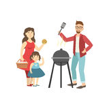 Barbeque Picnic For Family. Bright Color Cartoon Simple Style Flat Vector Clipart Illustration royalty free illustration