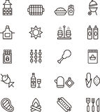 Barbeque and picnic icons. A set or collection of black and white icons or graphics related to a barbeque or picnic stock illustration
