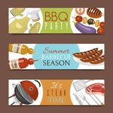 Barbeque picnic party banner meat steak roasted on round hot barbecue grill vector illustration. Bbq in park, banner. Design template. Grilled food menu poster stock illustration