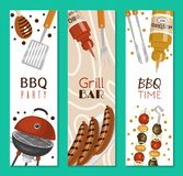 Barbeque picnic party banner meat steak roasted on round hot barbecue grill vector illustration. Bbq in park, banner. Design template. Grilled food menu poster royalty free illustration