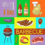 Barbeque picnic party banner meat steak roasted on round hot barbecue grill vector illustration. Bbq in park, banner. Design template. Grilled food menu poster vector illustration