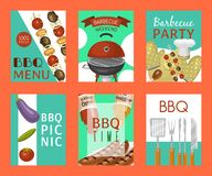 Barbeque picnic party cards meat steak roasted on round hot barbecue grill vector illustration. Bbq in park, banner. Design template. Grilled food menu poster vector illustration