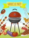 Barbeque picnic party poster meat steak roasted on round hot barbecue grill vector illustration. Bbq in park, banner. Design template. Grilled food menu stock illustration