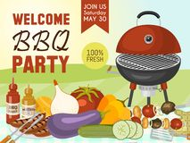 Barbeque picnic party poster meat steak roasted on round hot barbecue grill vector illustration. Bbq in park, banner. Design template. Grilled food menu royalty free illustration