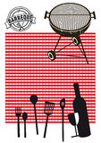 Barbeque and picnic silhouettes. Black and white silhouettes related to barbeque grilling and picnics. Red and white checkerboard background vector illustration
