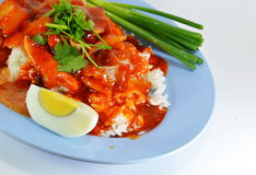 Barbeque pork on rice and dressing with red sweet sauce Stock Photo