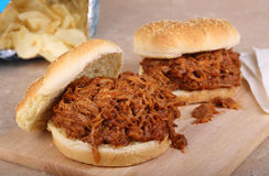 Barbeque Pork Sandwiches Stock Photography