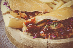 Barbeque Pulled Pork Sandwich with BBQ Sauce Royalty Free Stock Photo