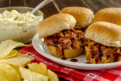 Barbeque Pulled Pork Sandwiches Stock Images