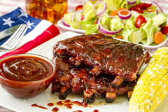 Barbeque racks of ribs with sauce Royalty Free Stock Photo