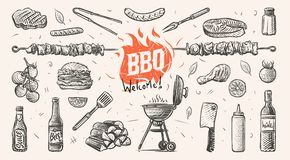 Barbeque related things hand drawn illustration. Vector. stock illustration