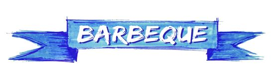 Barbeque ribbon. Barbeque hand painted ribbon sign stock illustration
