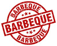 Barbeque stamp. Barbeque round grunge stamp isolated on white background stock illustration