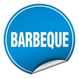 Barbeque sticker. Barbeque round sticker isolated on wite background. barbeque stock illustration