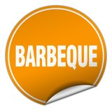 Barbeque sticker. Barbeque round sticker isolated on wite background. barbeque royalty free illustration